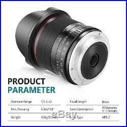 8mm F/3.5 Ultra Wide Angle Manual Focus Rectangle Fisheye Lens for APS-C Nikon