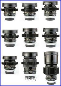 9x CANON FD SSC 24 28 35 50 50M 85 100 135 200 Lens Set / CINE-MODDED & CLEANED