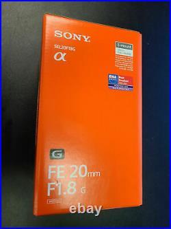 Brand New In Box Sony FE 20mm F1.8 G Full Frame E-Mount Lens #SEL20F18G