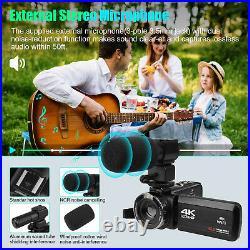 Camcorder Video Camera Ultra HD 4K 48MP 16X Digital Vlogging Microphone Remote