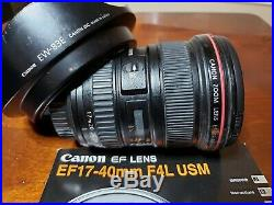 Canon EF 17-40 mm f/4 L USM Lens + Hood + Manual