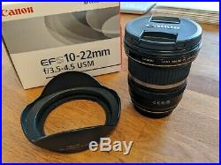 Canon EF-S 10-22mm f/3.5-4.5 USM Lens Lens with Box & Hood Barely Used