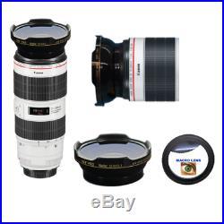 HD3 WIDE FISHEYE LENS + MACRO LENS FOR Canon EF 70-200mm f/2.8L IS III USM Lens