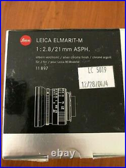 Leica ELMARIT-M 21mm f/2.8 Aspherical MF Lens (Silver) 11897 Mint never used