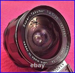 Mint Asahi F/4.5 20mm Super Takumar Ultra Wide Angle Lens For M42 Pentax Bodies
