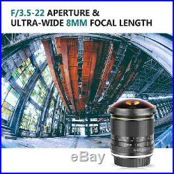 Neewer Pro 8mm f/3.5 Manual Focus HD Fisheye Lens for Canon EOS Rebel Cameras
