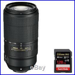 Nikon AF-P NIKKOR 70-300mm f/4.5-5.6E ED VR Fixed Zoom Lens + 128GB Memory Card