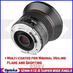 Opteka 12mm f/2.8 Lens for Sony E Mount NEX a6500 a6300 a6000 a5100 a5000 a3000