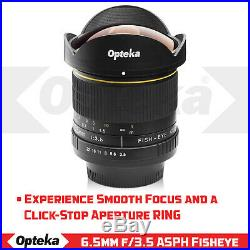 Opteka 6.5mm Fisheye Lens for Canon EF EOS 70D 60D 7D 6D 5D T7i T6i T6s T6 T5 T3