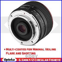 Opteka 6.5mm Fisheye Lens for Sony E a6600 a6500 a6400 a6300 a6000 a5100 a5000