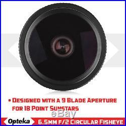 Opteka 6.5mm f/2 HD MC Manual Fisheye Lens for Canon EF-M M100 M10 M6 M5 M3 M2
