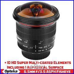 Opteka 6.5mm f/3 Fisheye Lens for Canon EOS 7D T8i T7i T7 T6s T6 T5i T5 T4i T3