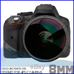 Oshiro 8mm Fisheye Lens for Nikon DX D850 D500 D7500 D5600 D5500 D3400 D3300