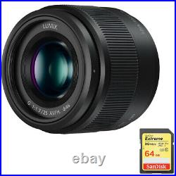 Panasonic Lumix G 25mm f/1.7 ASPH. Lens (Black) with Sandisk 64GB Memory Card