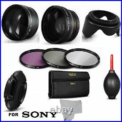 Pro 55mm Wide Angle Macro Lens +2x Hd 55mm Zoom Lens + Filters For Sony Fdr-ax53