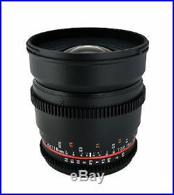 Rokinon 16mm T2.2 Ultra Wide Angle Cine Lens for Nikon VDSLR New Lens