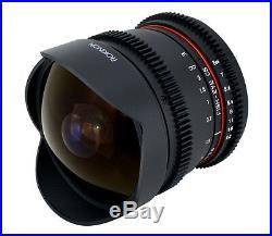 Rokinon 8mm T3.8 Cine Fisheye Lens for DSLR Video with De-clicked Aperture Canon